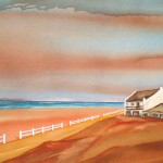 Beach fence/ Strandheining. 70x48. Framed  SOLD