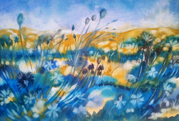bloublom/blue flower. 50 x 30 cm Unframed.
